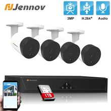 Jennov 4CH HD H.265 3MP POE Camera CCTV Video NVR System Audio Home Security Surveillance 4PCS Outdoor Weatherproof Night Vision(China)