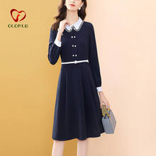 French Vintage Long Sleeve Dress Black Office Lady With Belt Autumn Dresses For Women Button Peter Pan Collar Vestidos