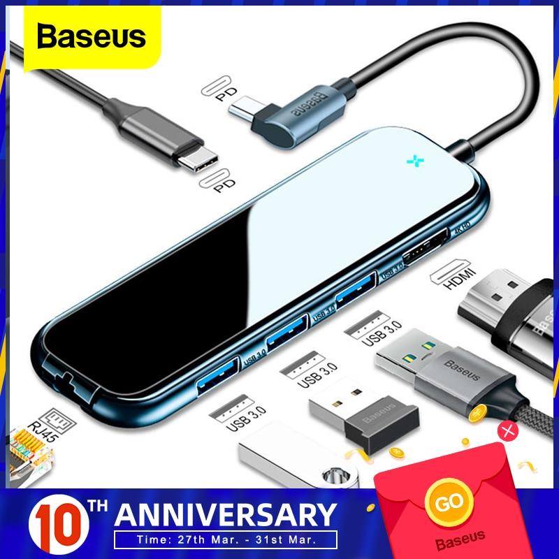 Baseus USB Type C HUB To HDMI RJ45 Multi USB 3.0 USB3.0 Power Adapter For MacBook Pro Air Dock 3 Port USB-C USB HUB Splitter Hab