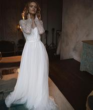 Wedding Dress Long Sleeve A-Line Crystal Court Train Floor Length Women Bridal Gowns Backless Robe De Mariee Gorgeous