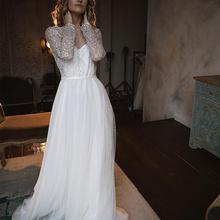 Wedding-Dress Bridal-Gowns Robe-De-Mariee Court-Train Long-Sleeve Crystal Gorgeous Backless