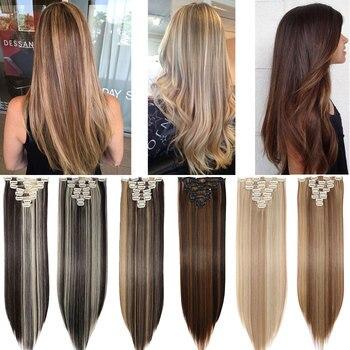 S-noilite 8 sztuk/zestaw 18 klipów włosy doczepiane Clip in syntetyczne długie proste doczepiane włosy klip w włosy dla kobiet