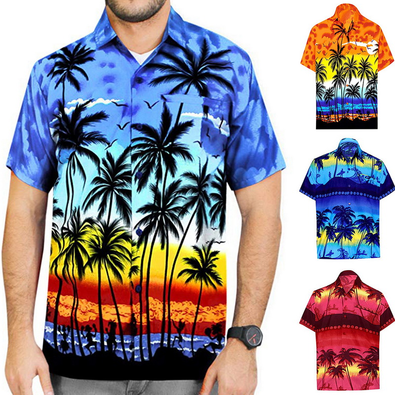 2020 New Hawaiian Print Beach Shirt Fashion Men's Button Short Sleeve Loose Casual Shirts Tops Male Holiday Blouse Streetwear