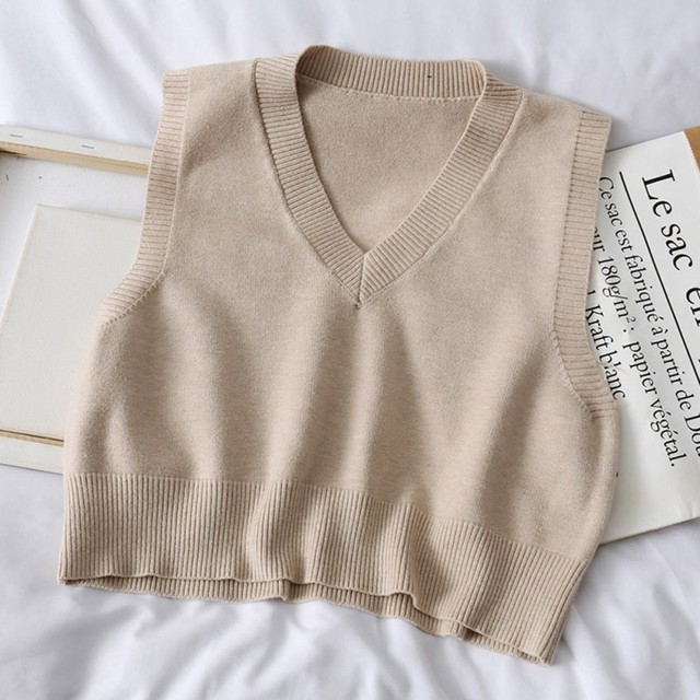 Autumn Sleeveless Sweater Women Sweet Solid Color V Neck Knitted Loose Sleeveless Slim Vest Jumpers Pull Femme 2
