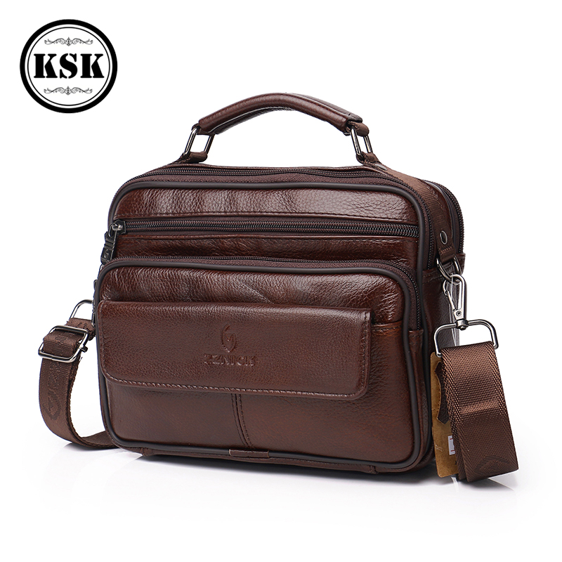 Men's Messenger Bag Shoulder Bag Genuine Leather Bags Male Crossbody Bags Flap Luxury Handbag Shoulder Handbag For Men KSK