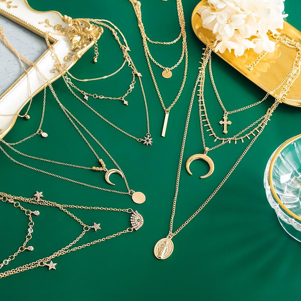 Женское Ожерелье в стиле бохо, многоэлементное ожерелье с кристаллами, винтажное золотое ожерелье, Многоэлементная Подвеска со слоями, Под...
