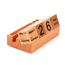 1PC drewniane wieczny kalendarz kalendarz prosty na blat uczyć się kalendarz biurkowy drewniane ozdoby do dekoracji domu w Zegary słoneczne od Dom i ogród na