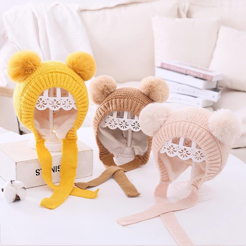 Doppel Pompom Baby Hut Warme Gestrickte Kinder Mädchen Jungen Herbst Winter Motorhaube Hut Einfarbig Ohr Schutz Kinder Beanie Cap unisex