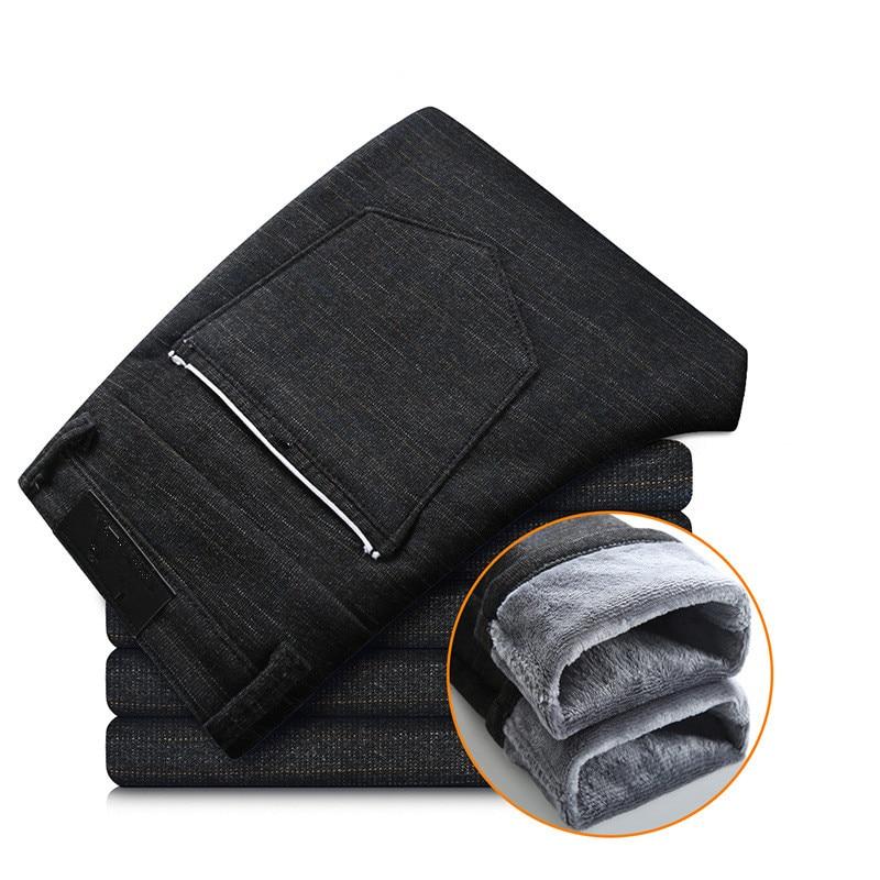 Мужские Стрейчевые брюки с теплым флисовым платьем, брюки с фланелевой подкладкой, черные, синие, серые брюки, повседневные зимние штаны