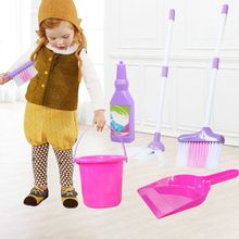 Dustpan-Kits Cleaning Broom Pretend-Toy Play-Set Kids Child Mop Bucket-Brush 6pcs