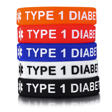 TYPE 1 AND 2 DIABETES SILICONE RUBBER WRISTBANDS FOR KIDS BRACELET