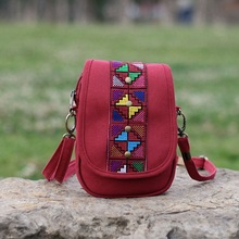 New ethnic style bag canvas bag fashion wild lady mini crossbody bag multi-layer bag bag women  women bag  clutches women ethnic style women s crossbody bag with hollow out and color matching design