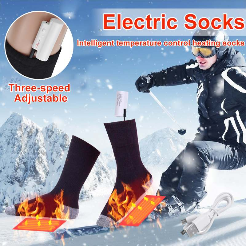 Rechargeable Electric Heating Socks 3 Gear Temperature Washable USB Infrared Outdoor Men Women Winter Foot Thermal Warm Pad