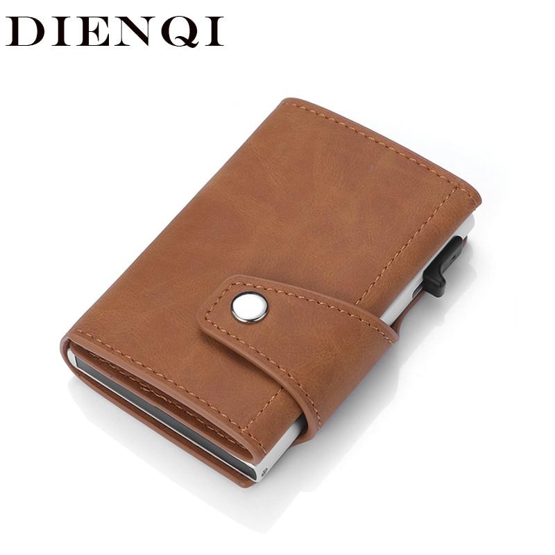 DIENQI Genuine Leather Men's Wallet RFID Business Card Holder Hasp Bifold Slim Mini Wallet Male Magic Smart Wallet Walet Brown