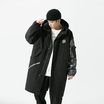 Winter Zip Up Windbreakers for Mens Long Jackets and Coats Korean Fashion Designer Loose Streetwear with Elegant Hoodies Jacket 00 zip page 1