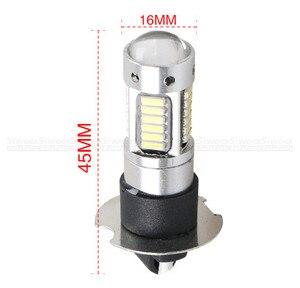 Image 4 - 2Pcs H3 H1 W5W T10 화이트 4014 칩 30 SMD 높은 전원 LED 안개 빛 헤드 라이트 램프 전구 렌즈 DC 12V