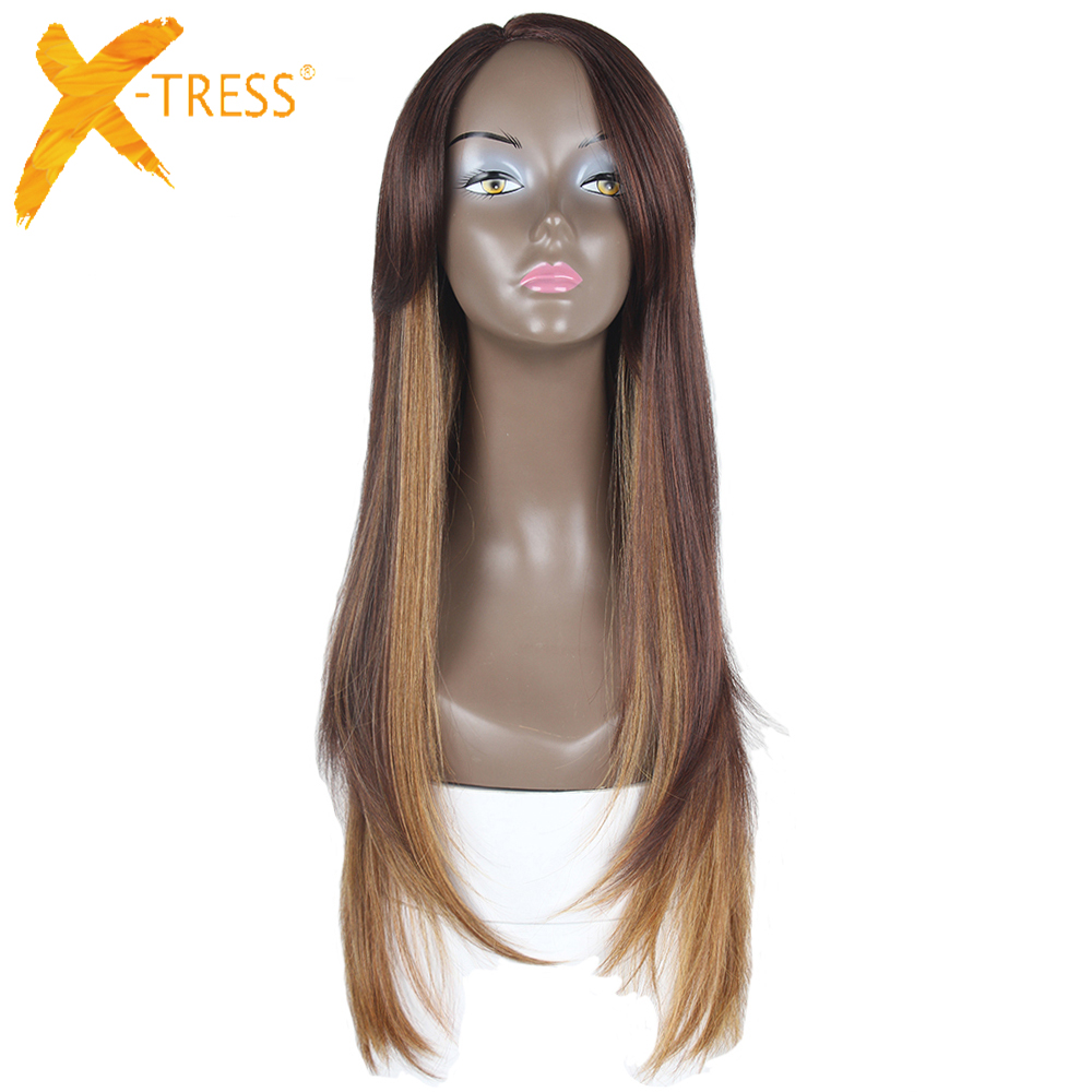 X-TRESS Ombre Black Brown Blonde Synthetic Hair Wigs With Bangs Long Straight Side Part Glueless Heat Resistant Fiber For Women