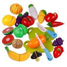 Cozinha plástico frutas vegetais alimentos fingir reutilizável jogo de papel corte conjunto