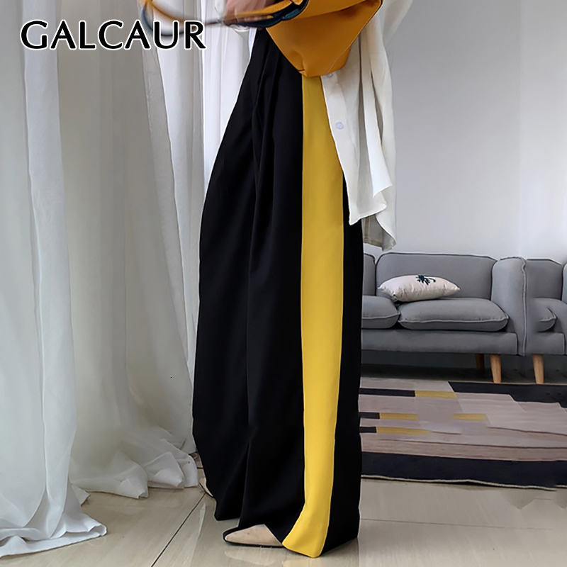 GALCAUR Casual Hit Color Long Trousers For Women High Waist Large Size Long Wide Leg Pants Female Autumn Winter Fashion 2019 New