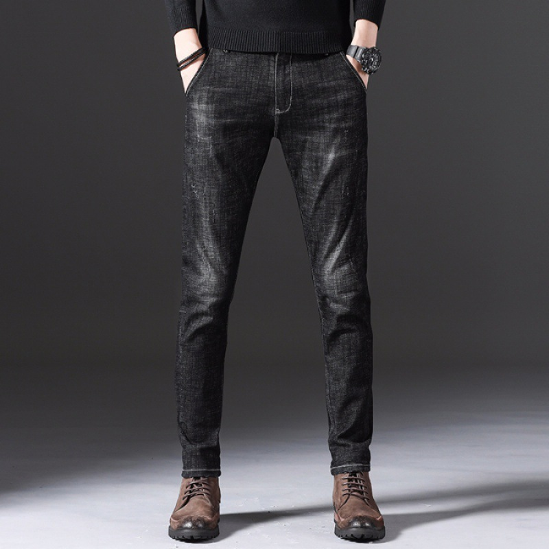 Jeans Men's Slim Fit Spring New Style Men Casual Black And White With Pattern Elasticity Slimming Skinny Pants Korean-style Tren