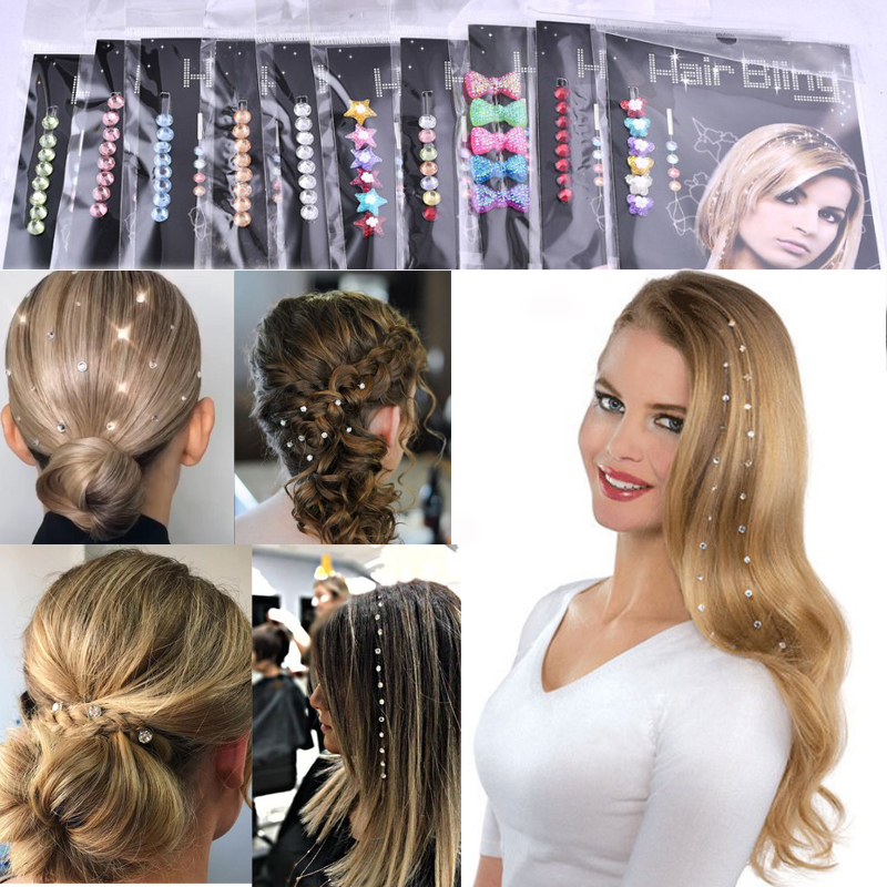 8 Beads Hair Bling Crystal Diamond Wedding Hair Jewlery Party Accessory Braids On Rhinestone Gift For Ladies Women Can Reused