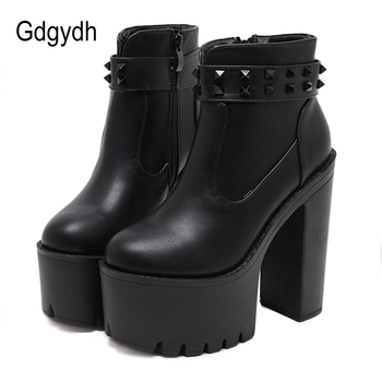 Gdgydh 2020 Hot Sales Women Ankle Boots With Rivets Round Toe Thick High Heeled Short Boots Platform Boots Gothic Chunky Heel chain design block heeled ankle boots