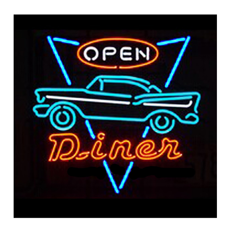 Classic Car Diner Open Neon Sign Custom Handmade Real Glass Tube Shop Store Restaurant Decoration Display Neon Signs 24X24 image