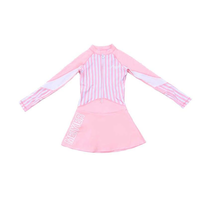 Le ragazze di Un Pezzo Manica Lunga con Gonna Con Cerniera A Righe Rosa Costume Da Bagno Costume Da Bagno Del Corpo Vestito di Nuotata Beach Wear Monokini