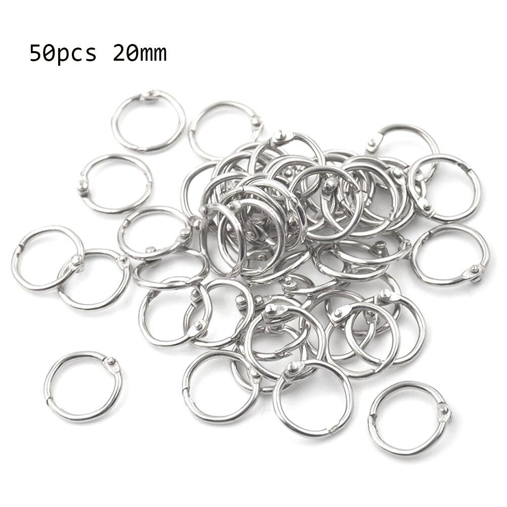 50Pcs Metal Ring Binder Staple Book Binder Albums Loose-leaf Book Hoops 15-80mm Loose Leaf Ring Keychain Office Binding Supplies