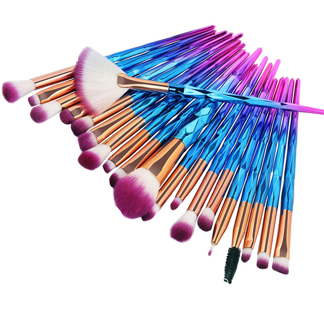 20Pcs Diamond Makeup Brushes Set Powder Foundation Blush Blending Eye shadow Lip Cosmetic Beauty Make Up Brushes Multifunctional