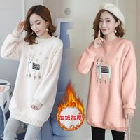 685# Cartoon Embroidery Fleece Maternity Nursing Shirts Winter Thicken Warm Feeding Clothes for Pregnant Women Pregnancy Tops