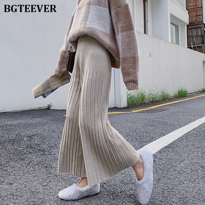 Casual Thicken Striped Wide Leg Pants Women Elastic Waist Loose Knitted Pants Female Casual Knitted Trousers 2019 Autumn Winter