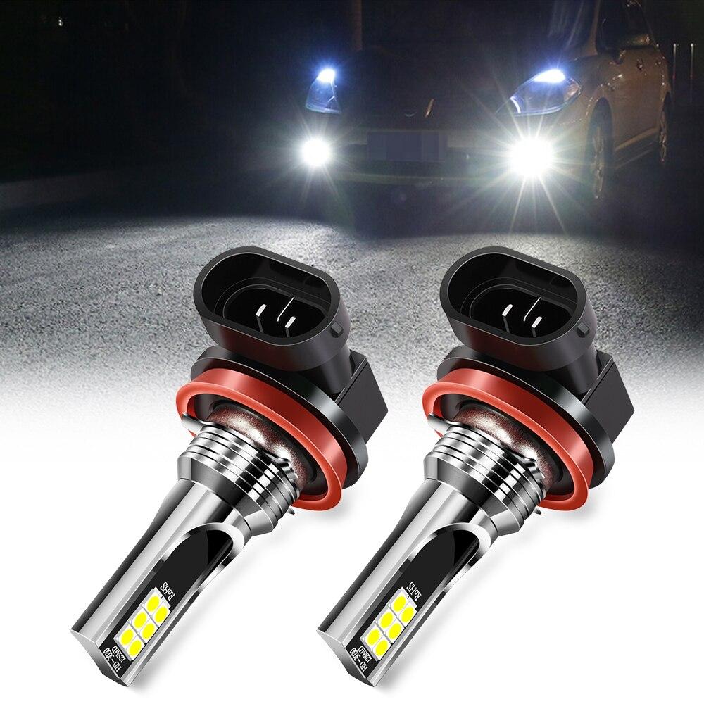 2x H8 H11 Светодиодный ные лампы Автомобильные противотуманные фары Дневные хосветильник для ford focus kuga fiesta mondeo Tuga Ecosport mazda 2 mazda 3 mazda 6