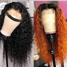 Orange Menschliches Haar Perücken Ombre Farbe Lockige Spitze Vorne Mit Baby Haar 13*4 Brasilianische Remy Haar Spitze Perücke mittleren Teil Gebleichte Knoten