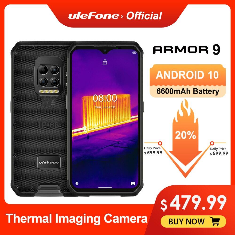 Ulefone Armadura 9 Térmica Câmera de Telefone Robusto Android 10 Helio P90 Octa-core 8GB + 128GB Móvel telefone 6600mAh 64MP Câmera do Smartphone