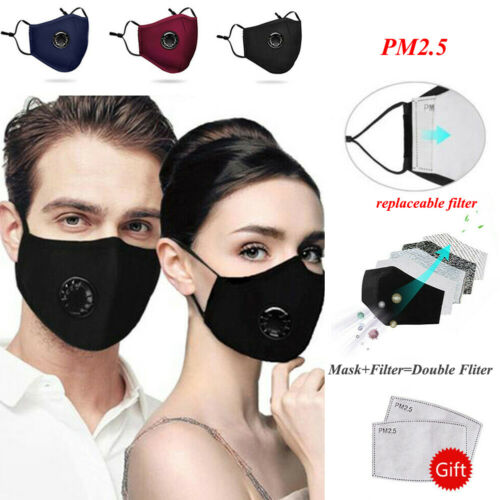 A PM2.5 Respirator Face Masks Haze Anti Pollution Air Purifying Reusable Dust Mask 2 Filters Easy Breathe Washable Mask Mouth