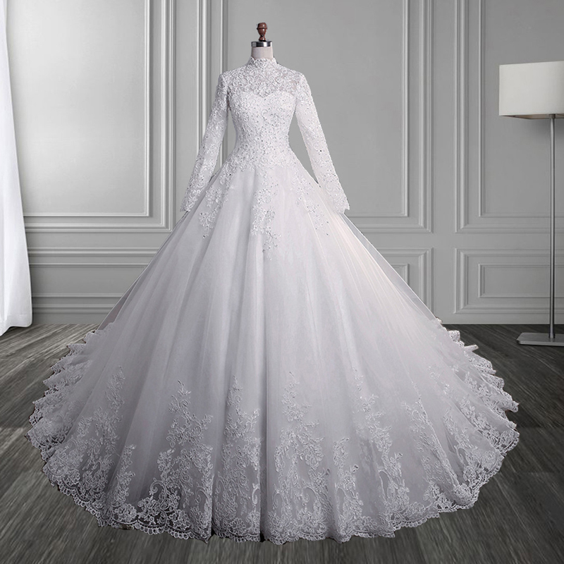 2019 White Ivory Elegant Ball Gown Beads Wedding Dresses For Brides Lace High Neck Long Sleeves With Lace Edge Plus Sizes