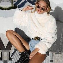 ALLNeon Faux Rabbit Fur Outerwear Solid Turtleneck Oversized Women Coat Shaggy Comfort Long Sleeve Warm Fashion Fall Winter Sale