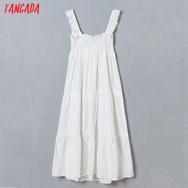 Tangada 2021 Fashion Women Flowers Embroidery White Strap Dress Sleeveless Backless Female Casual Beach Sundress 6H40 6