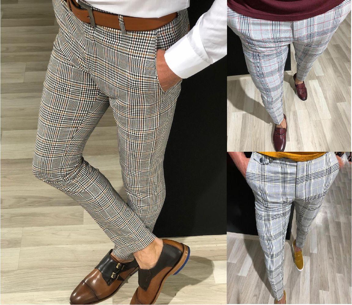 PUIMENTIUA Fashion Mens Slim Fit Trousers Check Casual Pants Joggers Tartan Jogging Skinny Bottoms Plus Size 2019 Men Trousers