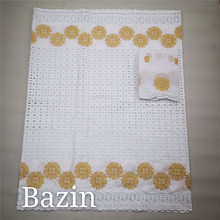 7yards Hot Selling Bazin Riche Fabric With Lace Newest White Cotton Swiss Lace Fabric Nigerian Dry Lace Stones Guinea Brocade 8F liulanzhi african bazin riche getzner fabric soft embroidery blue lace fabric brocade fabric cotton 7yards per lot ml39b30