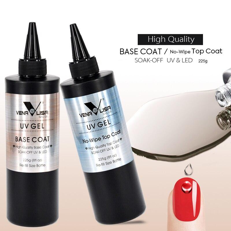 Venalisa Brand 225g Super Quality Nail Art Soak Off UV/LED No Wipe Top Coat Base Coat Without Sticky Layer TopCoat