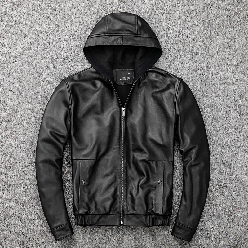 Free Shipping,Plus Size Mens Casual Genuine Jacket.autumn Sheepskin Coat.sale Young Fashion Leather Outwear.quality