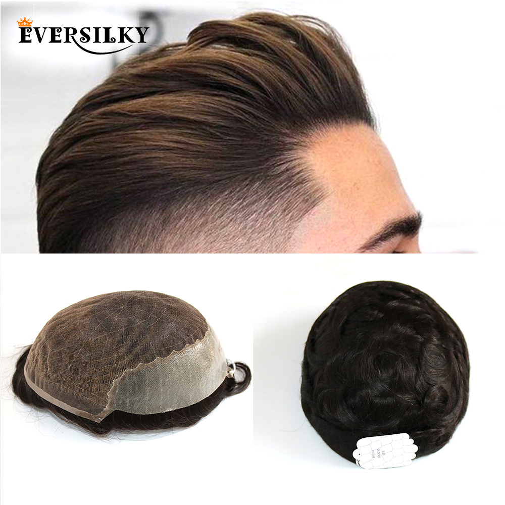 Eversilky Human Hair Durable Hairpieces Lace Thin PU Replacement System For Men Toupees