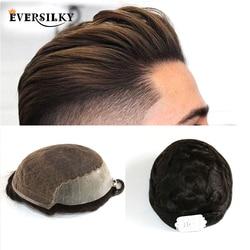 Натуральные волосы Eversilky, прочные кружевные тонкие полиуретановые накладные волосы для мужчин, прочные накладные волосы из искусственной к...