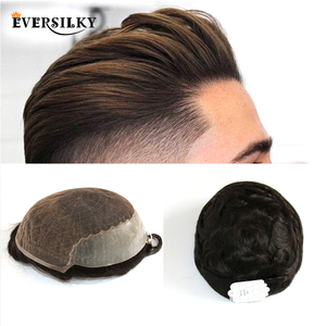 Eversilky Human Hair Durable Hairpieces Lace Thin PU Replacement System For Men Toupees Human Hair Durable Hairpieces Lace & PU(China)