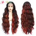 X-TRESS Long Body Wavy Lace Front Wig Mixed Red Orange Black Ombre Synthetic Wigs for Women Free Part Lace Wig with Baby Hair