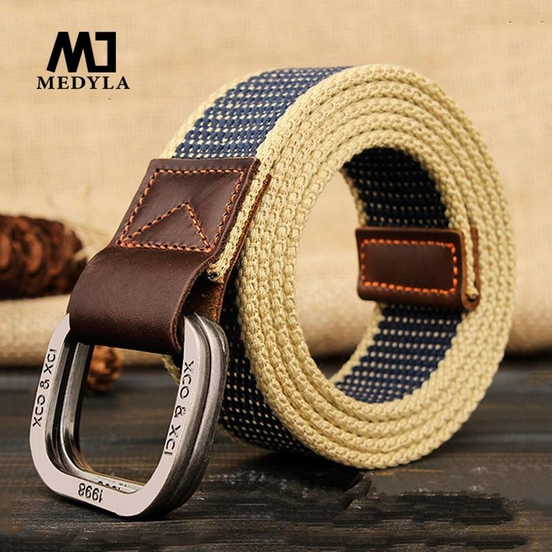 MEDYLA  Belts For Men Double Buckle Striped Adult Casual Men Knitted  Belt Man Canvas Lengthen Strap