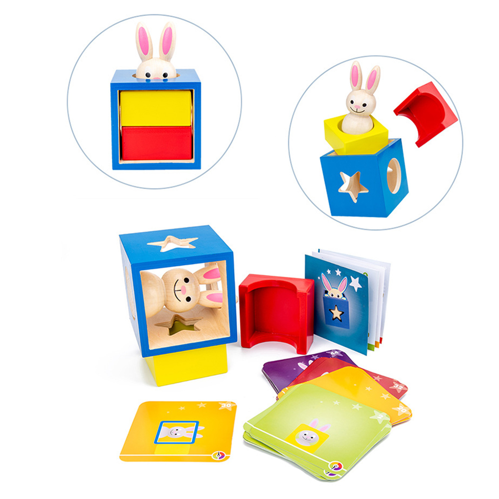 New Wooden Rabbit Magic Box with Secret Bunny Boo Hide and Seek Magic Game Brain Teaser Toys Kids Wood Toy Gifts