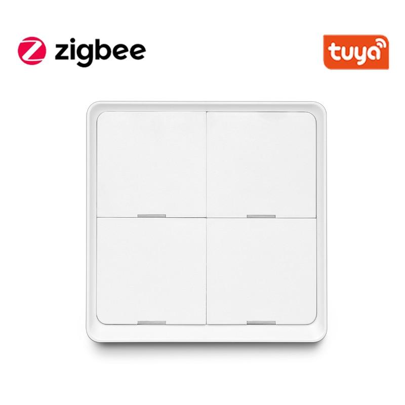 Tuya Smart ZigBee Smart Switch 4 Gang Scenario Scene Switch Support Zigbee2mqtt Home Assistant Smart Home Automation